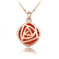 Striking Pendant Necklace for Women with Red Crystal Accents
