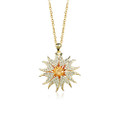 Bright Sunburst Pendant Necklace for Women with Crystal Accents
