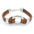 Unisex Brown Leather 2 Band Bracelet with Stylish Silver Ring