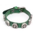 Mens Green Leather Biker Bracelet with Vintage Silver Plated Iron Crosses
