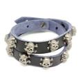 Black Leather Biker Bracelet Vintage Silver Plated Skull Cross Bone Studs