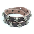 Brown Leather Biker Bracelet Vintage Silver Plated Skull Cross Bone Studs