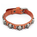 Orange Leather Biker Bracelet Vintage Silver Plated Skull Cross Bones