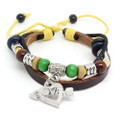 Unisex Leather Multi Strand Bracelet with Vintage Silver Plated Love Charm