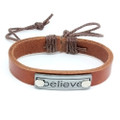 "Mens Unique Brown Leather Adjustable ""Believe"" Cuff"