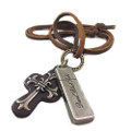Genuine Adjustable Leather Necklace with Ornate Cross Pendant