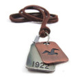 Genuine Adjustable Leather Necklace with Antique Seagull Dog Tag