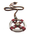 Genuine Leather Adjustable Necklace, Round Red Antique Pendant