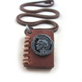 Genuine Leather Adjustable Necklace with Leather Book Pendant