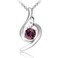 Dark Purple Crystal Pendant, Elegant Women Necklace, FREE  Chain