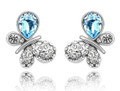Beautiful Blue Butterfly Push Back Earrings with Striking Accent Crystals