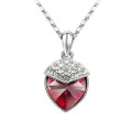 Heart Charm Crystal Pendant, Red Women Necklace,  FREE  Chain