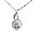 Sterling Silver Necklace, Simple Elegant with CZ Stone, Free White Gold Plated Chain
