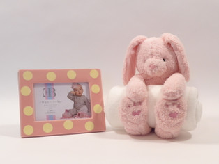 "Bedtime Bunny features plush bunny with full-size blanket and 7x9"" pink and yellow polka dot ceramic picture frame!"