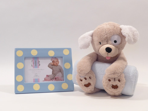 "Bedtime Puppy Easter Gift Set for Baby Boy features adorable plush puppy with full size baby blanket, and blue and yellow 7x9"" ceramic picture frame!"