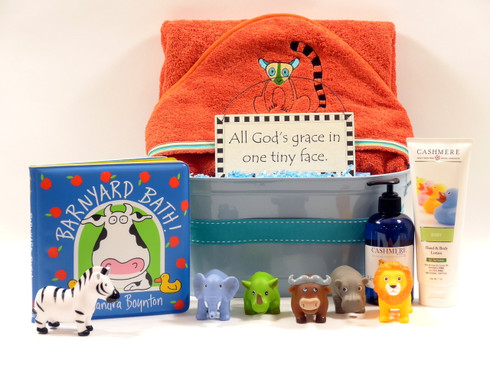 Organic Jungle Baby Bath gift basket
