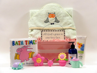Sleepy Owl Baby Bath Set features organic cotton hooded towel, all natural bath products and more goodies for bath time!