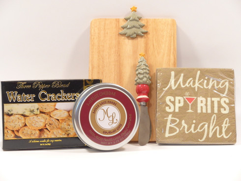 Holiday cheese gift set features Grasslands Road cheeseboard and holiday spreader