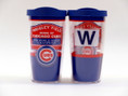 "Insulated travel tumbler from Tervis includes Cubs World Series Champions design on front and ""W"" on back."