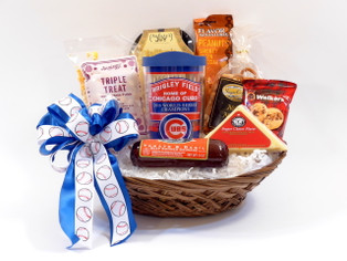 Chicago Cubs Gift Basket With Assorted Snacks And Insulated Travel Tumbler