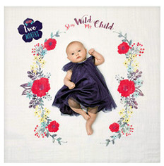 """Stay Wild My Child"" muslin blanket makes the perfect backdrop for baby girl"