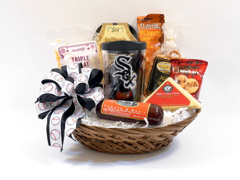Chicago White Sox Gift Basket with Assorted Snacks and insulated travel tumbler