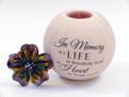 Life Well Lived Sympathy candle includes beautiful floral top when candle is not in use.