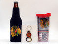 Features Blackhawks insulated bottle cover, bottle opener keychain, and insulated travel tumbler