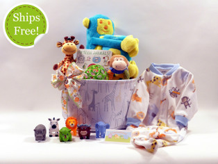 Animal Friends baby gift basket qualifies for free shipping!