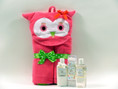 Plush hooded bath towel with all natural handmade baby skincare.