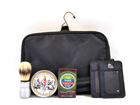 Shower and Shave Travel Gift Set features travel toiletry bag from Jimeale of New York