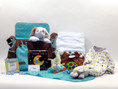 Polka Dot Precious Baby Boy Diaper Bag Gift filled with the highest quality baby gifts