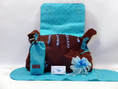 Polka Dot Precious Baby Boy Diaper Bag Gift is complete with take-along changing pad and insulated bottle carrier