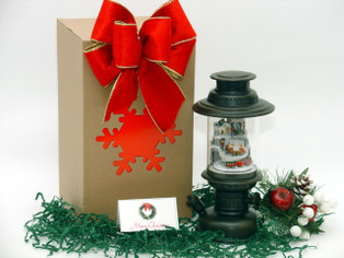 Bronze Musical Lantern with LED Lit Christmas Village hand wrapped with decorative gift box