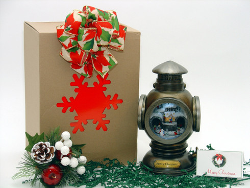 Brass Lantern Musical Christmas Village hand wrapped with decorative gift box.