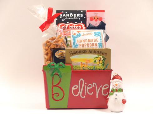 Christmas Joy Gift Basket with snowman ornament.