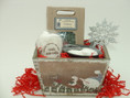 Christmas candle gift set is packaged in hand painted wooden snowman box
