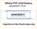 Customised VAS Rulers made of white PVC reading 0-10 cm with your LOGO/Text in full colour