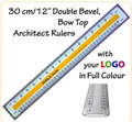 "Customised 30 cm/12"" Bow Top, Double Bevel Architect Rulers with Your LOGO/Text in Full Colour"