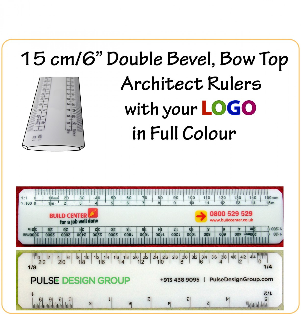Customised 15 Cm 6 Bow Top Double Bevel Architect Rulers With Your