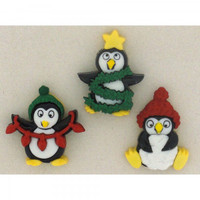 Dress It Up Buttons Holiday Penguins