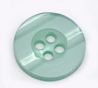 Round Plastic Buttons Four Hole 15mm Translucent Cyan