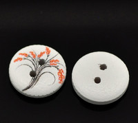 White Painted Floral Wood Button Two Hole (Design no.7) 15mm