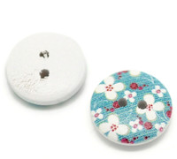White Painted Floral Wood Button Two Hole (Design no.11) 15mm