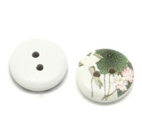 White Painted Floral Wood Button Two Hole (Design no.12) 15mm