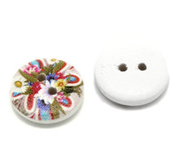 White Painted Floral Wood Button Two Hole (Design no.13) 15mm