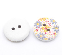 White Painted Floral Wood Button Two Hole (Design no.18) 15mm