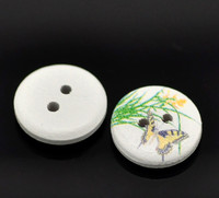 White Painted Floral Wood Button Two Hole Butterflies 15mm
