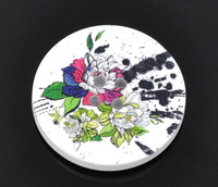 White Wood Painted Button Floral (Design No.4) Four Hole 30mm