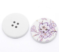 White Wood Painted Button Floral (Design No.6) Four Hole 30mm